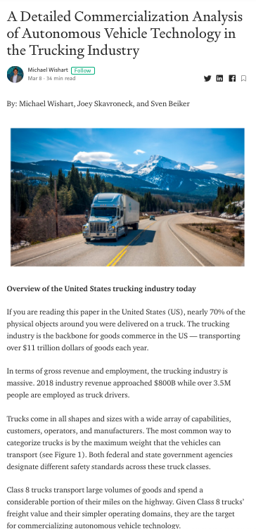 A Detailed Commercialization Analysis of Autonomous Vehicle Technology in the Trucking Industry
